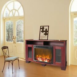 Electric Fireplace 59 In. Freestanding In Mahogany Finish With Remote Control