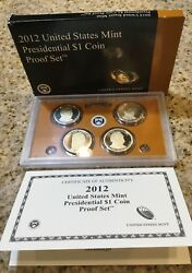 2012 S Proof Presidential Dollar Set - Ultra Cameo -4 Coins-box And Coa Included