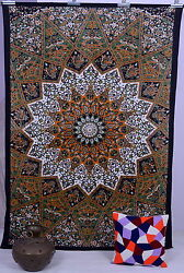 Indian Star Psychedelic Mandala Black Tapestry Wall Hanging Twin Bedding Blanket