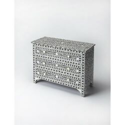 Victoria Mother Of Pearl Drawer Chest Black Bone Inlay