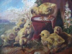 Antique Baby Chicks Rare Oil Canvas Painting 19th Century Victorian Farmhouse