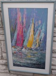 OIL PAINTING ABSTRACT PAINTING ORIGINAL SIGNED KERRY HALLAM  SAILBOATS WATER