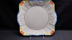 Myott Son Co England 8250 Hand Painted - Colorful Embossed Handled Cake Plate