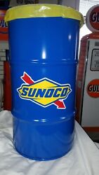 Sunoco / Blue Sunoco 50s 60s Vintage Style 16 Gallon Cold Rolled Steel Trash Can