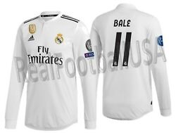 Adidas Gareth Bale Real Madrid Long Sleeve Authentic Ucl Home Jersey 2018/19