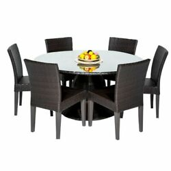 Barbados 60 Outdoor Patio Dining Table W/ 6 Armless Chairs