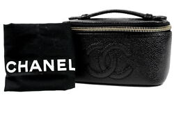 AUTH CHANEL CC Logo Black Caviar Skin Leather & Gold Vanity Cosmetic Hand Bag