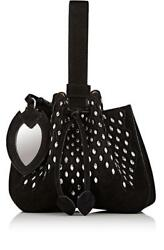 New $2280 Alaia Black Suede Bucket Bracelet Grommets Bag
