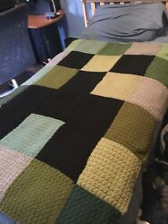 Fans Of Minecraft Creeper - Hand Crochet Blanket Throw - Twin Bed Cover