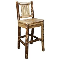 Log Bar Stool With Back 30 Rustic Lodge Cabin Style Amish Made Bar Furniture