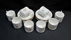 Royal Doulton England Yorkshire Rose H5050 Set Of 8 Demitasse Cups And Saucers