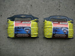 2 Pack Marine Harbor Dock Boat Reflective Rope 1/4 X 50and039 100and039 Total Floats