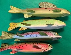 Set Of 4 Jim Pullen Cadillac Mi Hand-carved/ Painted Speckled Trout Fish Decoys