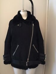 Acne Studios Velocite Black Suede Black Fur Shearling. New With Tags