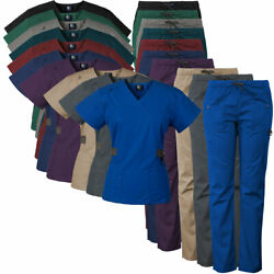 Medgear Women's 12-Pocket Scrub Set with Silver Snap Detail & Contrast Trim 7897