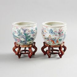A Pair Of Chinese Porcelain Fish Bowls19thc