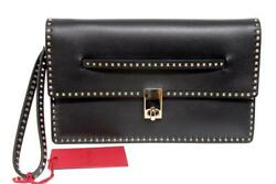 New Valentino Rockstud Black Leather Medium Clutch Wristlet Bag