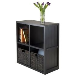 Winsome Timothy 3pc 2x2 Wainscoting Panel Shelf With 2 Basket In Black