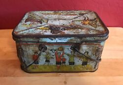 1890s Basketball Vintage Multi Sport Tin Candy Box Early Hoops