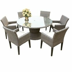 Florence 60 Outdoor Patio Dining Table With 6 Chairs With Arms In Sail White
