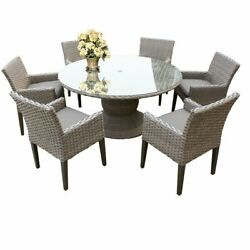 Monterey 60 Inch Outdoor Patio Dining Table With 6 Chairs With Arms In Grey