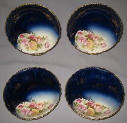 Antique Royal Bavarian Hp China Set Of 4 Berry Sauce Dishes Roses Cobalt Blue
