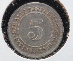 1900-h Straits Settlements 5 Cent Xf Km 10 Sterling Silver