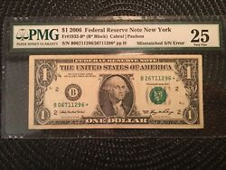 2006 1 Federal Reserve Star Note [] Mismatch Serial Number [ Rare] [[]]