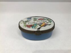 Antique French Limoges Peint Main Hand Painted Happy Birthday Trinket Pill Box