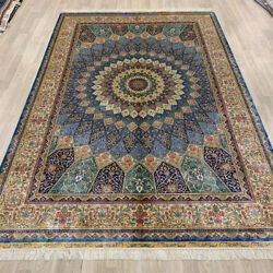 YILONG 6'x9' Medallion Handknotted Silk Persian Carpet Home Interior Rug Z178A