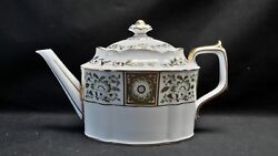 Royal Crown Derby English Bone China Green Derby Panel Teapot With Lid