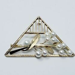 Art Deco Pearl Floral Pendant/pin/brooch In Gold