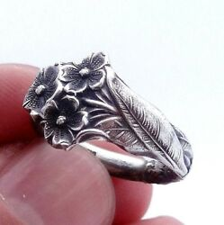 Vintage Silver Spoon Ring Reed And Barton Harlequin Forget Me Not Spoon Size 6
