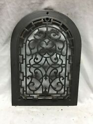 One Antique Arched Top Heat Grate Grill Maltese Cross Gothic Arch 10x14 652-18c
