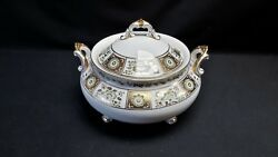 Royal Crown Derby English Bone China Green Derby Panel Tureen And Lid