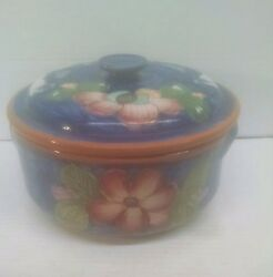 Vintage Ceramic Red Clay Covered Bowl/ Pot Hand Painted Made In Portugal