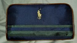 Ralph Lauren Polo Cosmetic Travel Case Bag with Logo Navy amp; Green Canvas Mans $24.50