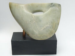 Vintage 60and039s Noguchi Inspired Abstract Form Marble Sculpture On Wood Plinth