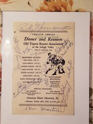 Rocky Marciano, Joe Louis And Hall Of Fame Boxers Autographed Menu
