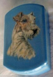 Antique Rookwood Pottery Box w Terrier Dog hand painted by Flora King (3636)