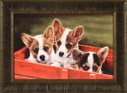 Mischief Makers By Lesley Harrison 17x23 Welsh Corgi Puppies Dogs Framed Art