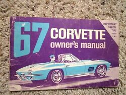 1967 Corvette Factory Gm Owners Manual 2nd Edition Part 3901022 W/ Half Card