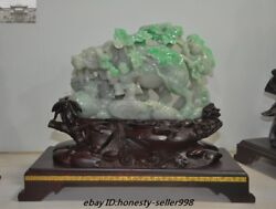 China Fengshui Natural Emerald Jade Jadeite carved Boy Oxen Bull Cattle Statue