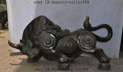 34chinese Fengshui Lucky Bronze Money Coin Zodiac Ox Bull Cattle Cow Statue