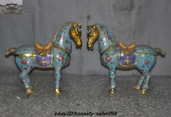 Marked Old China Fengshui Bronze Cloisonne Enamel Tang Dynasty Horse Statue Pair