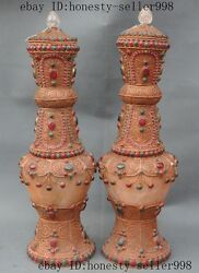 Rrae Tibet Buddhism Crystal Inlay Silver Turquoise Gem Lucky Bottle Vase Pair A