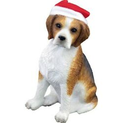 Sandicast Beagle with Santa Hat Christmas Ornament. Shipping Included