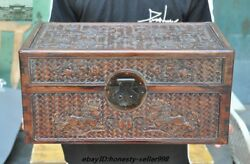 Old Chinese Huanghuali Wood Hand-carved Foo Dog Lion Storage Box Treasure Chest