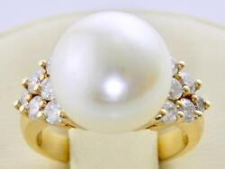 Certified Large 13.5mm Aaa South Sea White Pearl 1.12ct Diamond 14k Gold Ring