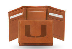 Miami Hurricanes Leather Tri Fold Wallet Embossed Logo